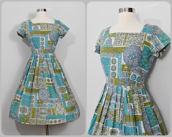 50s Teal/Chartreuse Day Dress