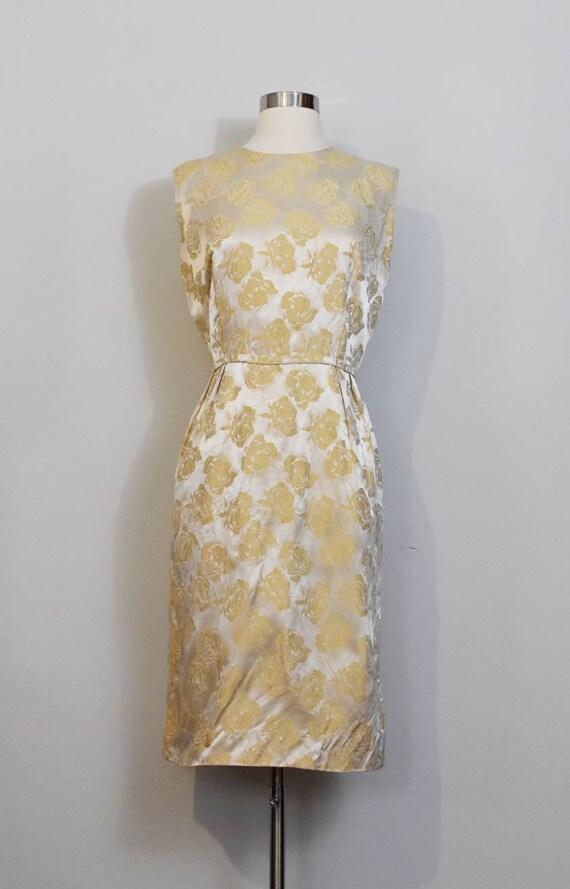 Gold Jacquard 50s Rose Print Wiggle Dress and Jac… - image 2