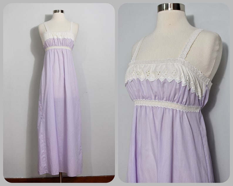 Vanity Fair 70s Purple /& White Eyelet Maxi Nightie
