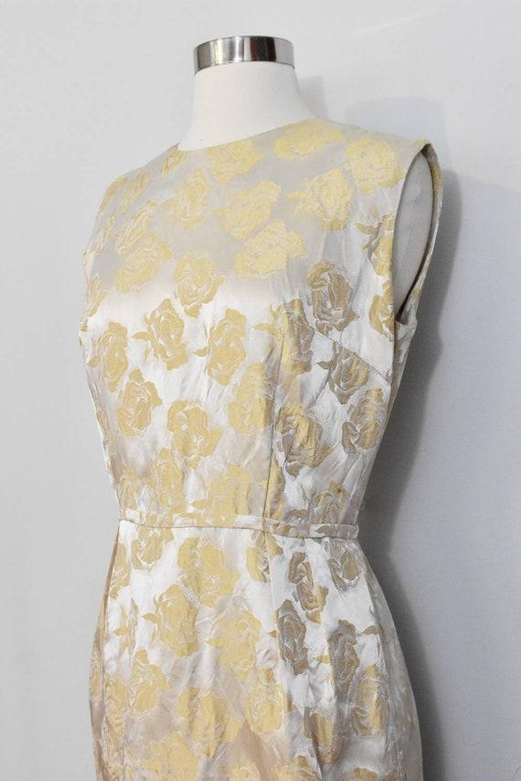 Gold Jacquard 50s Rose Print Wiggle Dress and Jac… - image 8
