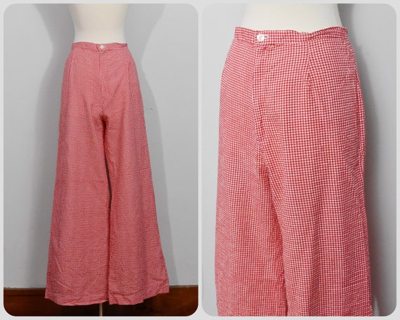 70s Wide Leg Red Gingham Pants