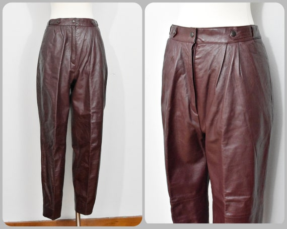 Danielle 80s Ox Blood Cropped Leather Pants