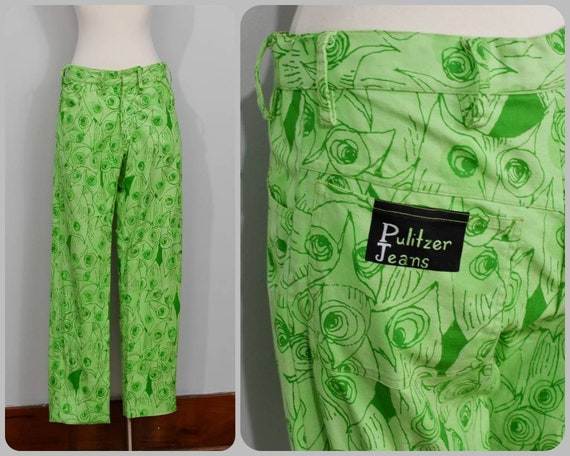 """Lilly Pulitzer Owl Print 60s """"Pulitzer Jeans"""""""