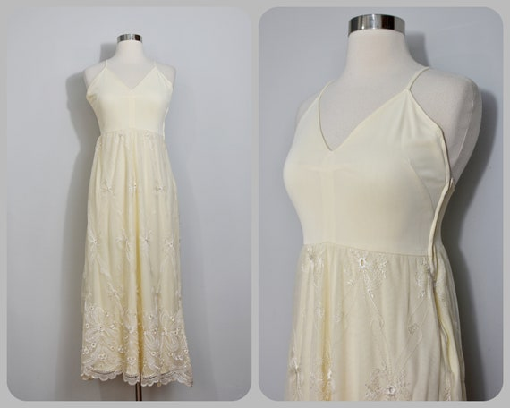 Frank Usher Buttercup Yellow Embroidered 70s Maxi