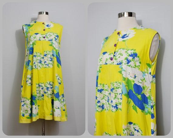 Yellow Floral 60s Trapeze Dress