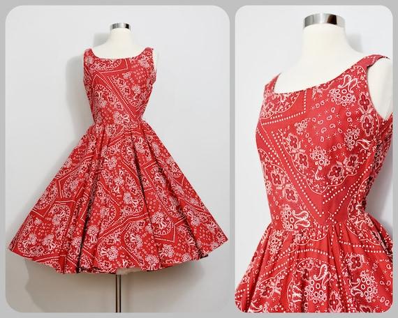 Red Bandana Print 50s Circle Dress