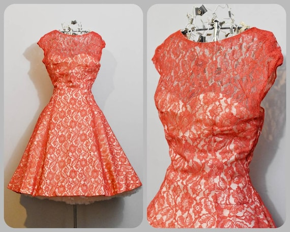 Red Lace Illusion 50s Party Dress with Full Circle