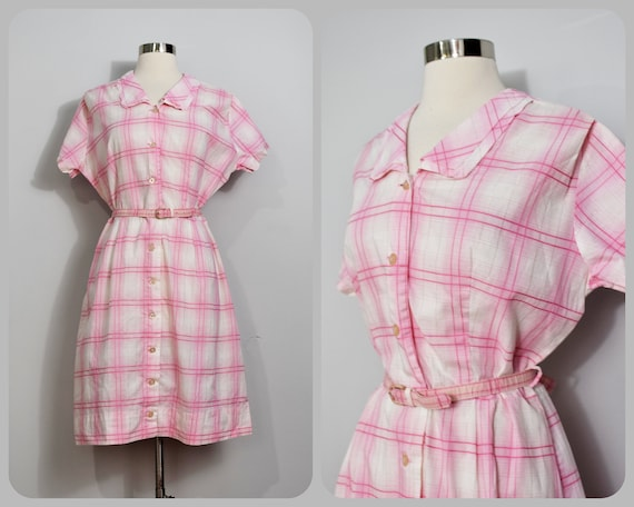Pink Plaid 50s Shirtwaist Dress