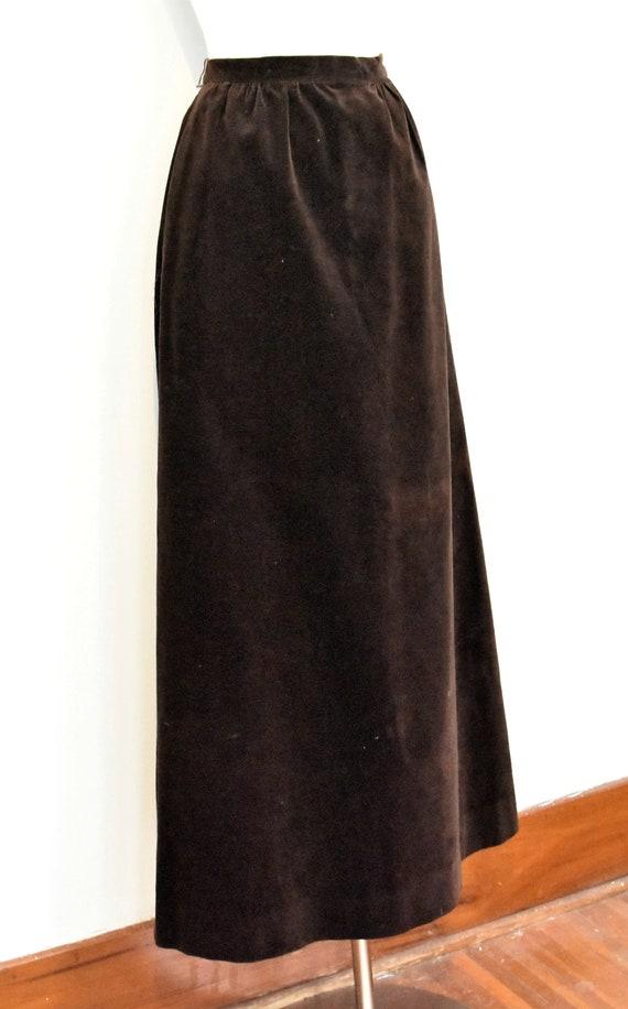 Nelly De Grab Brown Velvet Maxi Skirt - image 7