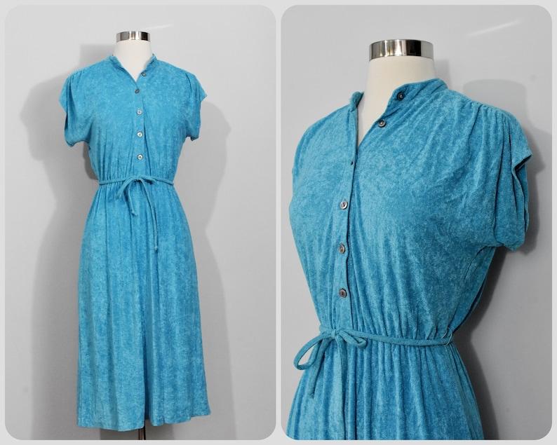 Blue Terrycloth 70s Dress