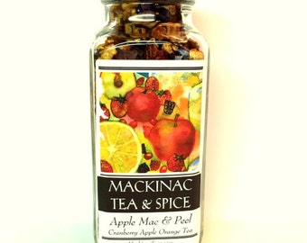 APPLE MAC & PEEL- Hibiscus, Cranberries, Apple and Orange Peel Summer Refreshments and Iced Tea Coolers