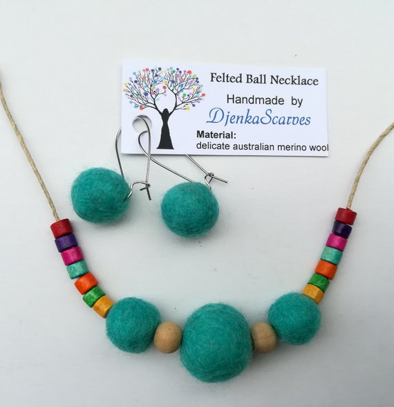 Green pompom necklace Felted bead necklace Felted jewelry necklace