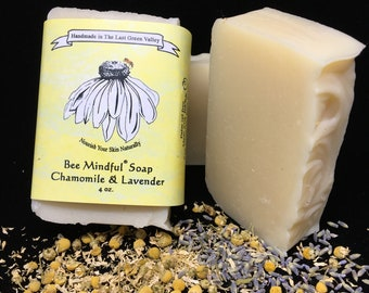 Lavender and Chamomile Soap, Bee Mindful Chamomile and Lavender Soap, Chamomile Soap, Homemade Chamomile Soap, Lavender Artisan Soap