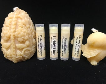 Bee Mindful Beeswax Lip Balms, Lickity Lime ip Balm, Pucker-Up Pineapple Lip Balm, Almonds Abuzz Lip Balm, Cuckoo Cocoamint Lip Balm,