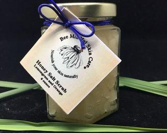 Honey Salt Scrub, Bee Mindful Honey Salt Scrub,Lemongrass Orange Honey Salt Scrub, Citrus Salt Scrub, Body Salt Scrubs, Sea Salt Scrub