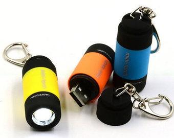 Mini Torch Flashlight Keyring Keychain Portable Gift Silver Rhinestone studded