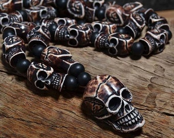 Skull Necklace: Voodoo Bone, Resin and Wooden Beads (Free Shipping)