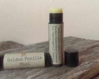 Golden Vanilla Chai/All Natural Lip Balm/Beeswax/Organic Virgin Coconut Oil/Organic Jojoba Oil/Bourbon Vanilla/Clove/Ginger/Cinnamon