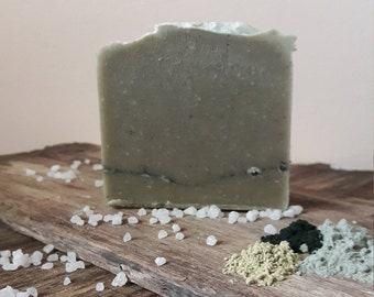 Ancient Clay/Blue Clay Soap/Blue Algae/Seaweed/Spirulina/Dead Sea Mud/Organic Oils/Anti Aging/Detox Skin/Acne/Lavender/Lemon/Spearmint