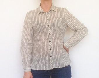 Linen shirt, vintage linen shirt, women shirt, pattern shirt, bohemian, ethnic, vintage women linen blouse, casual wear, business wear