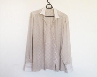 Vintage shirt, Italian, Women Blouse, L, soft sand and white shirt, polka dots, Mario Rosella, european vintage, italian fashion, oversized