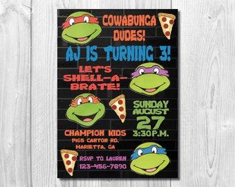 Ninja turtle invite etsy tmnt birthday party invitation teenage mutant ninja turtles birthday party invite pizza party custom printable digital file filmwisefo