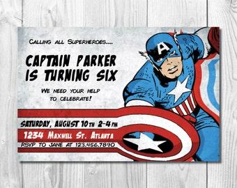 capt america invite etsy