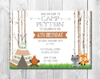 Camping Birthday Party Invitation >> Woodland Birthday Party Invite  >>  Forest Animals >> Rustic << Teepee >> Custom Printable Digital File