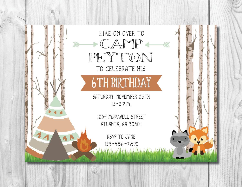 Camping Birthday Party Invitation Woodland Birthday | Etsy