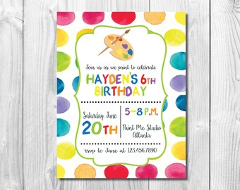 Paint Birthday Party Invitation << Art Birthday Party Invitation >> Kids Paint Party Invite >> Custom Printable Digital File