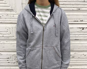 Tommy Hilfiger Gray Zip Up Hoodie Sweatshirt 90s Style - Large