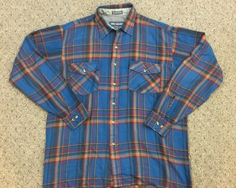 Vintage 80s 90s Van Heusen Blue Red Yellow Green Plaid Winterweights Lightweight Button Up Oversized Flannel Shirt - Large