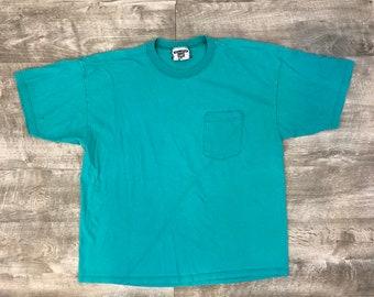 a889b7bdde Vintage 90s Lee Teal Blue Short Sleeve Oversized Pocket Tee Shirt - XL