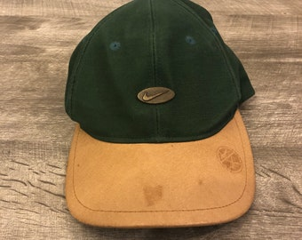 782e645e6aab0 Nike Golf Green Leather Swoosh Logo Two Tone Velcro Baseball Hat Cap - OSFA
