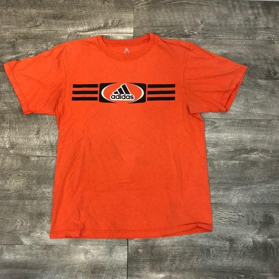 Adidas Orange Black Three Stripe Athletic Soccer Short Sleeve Graphic Tee Shirt Large
