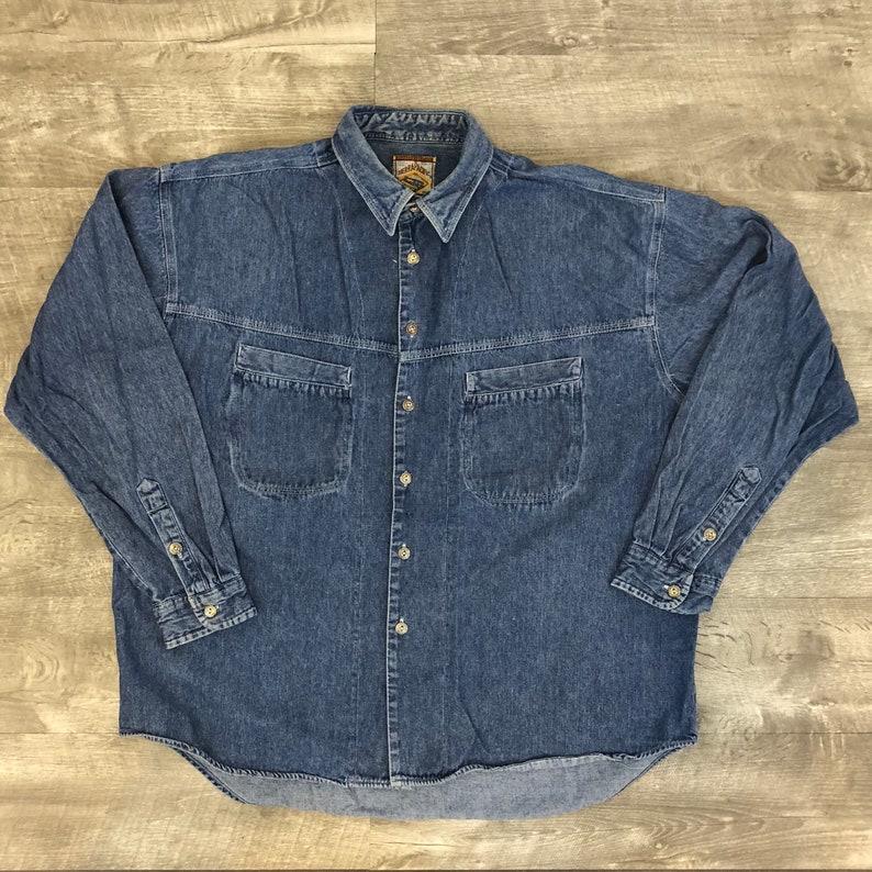 6f17b00856 Vintage 90s Sierra Pacific Denim Long Sleeve Oversized Pocket
