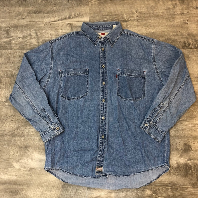 119a359543 Vintage 80s 90s Levi s Red Tab Denim Long Sleeve Button Up Oversized ...