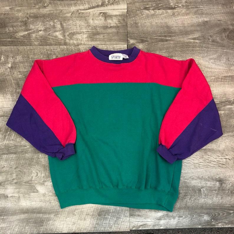 Vintage 80s 9s American Sportif Green Pink Purple Color Block  4fd155aaa