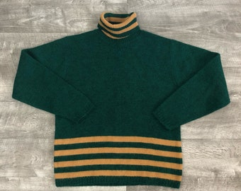 Vintage 60s 70s Tiger-Shag Green Yellow Striped Turtleneck Sweater - Large
