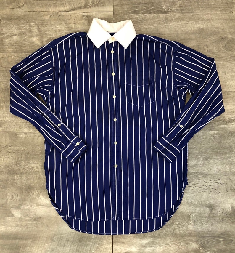 1caad7a0f Polo Ralph Lauren Blue White Striped Long Sleeve Button Up | Etsy