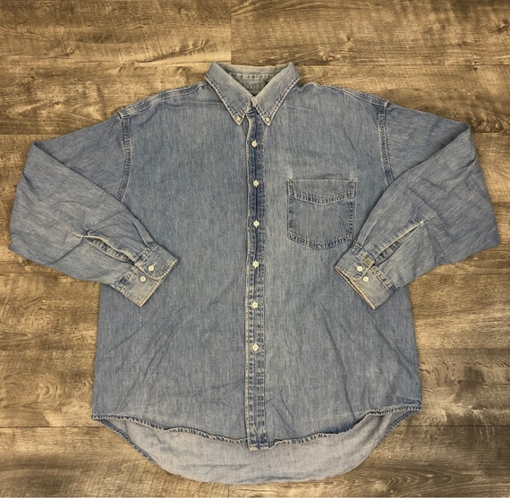 0514a6a0b9 Vintage 90s GAP Denim Long Sleeve Button Up Oversized Grunge