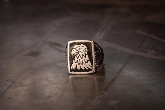 G&S Eagle Biker Head Biker Ring Size-13