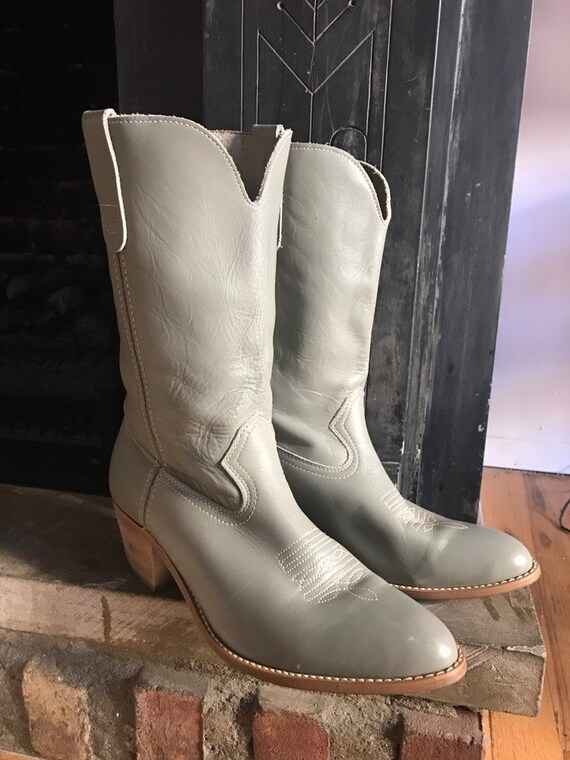 Vintage Landis Gray Leather Cowboy Weatern Boots S