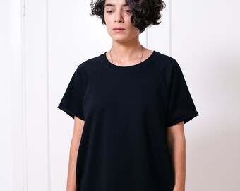Black dress T shirt dress Women's dress Womens dress LBD Oversized dress Raglan dress Tshirt dress Oversized tunic T dress
