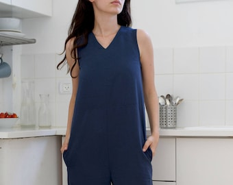 Women's jumpsuit Tencel jumpsuit Women overall Summer romper Navy blue overall Women dungarees Summer overall Relaxed fit
