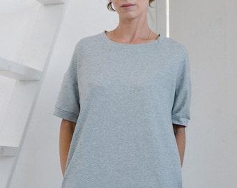 T dress T-shirt dress Tshirt dress Women's dress Women's tunic Oversized dress Grey dress Grey melange Short sleeves Casual dress Light grey