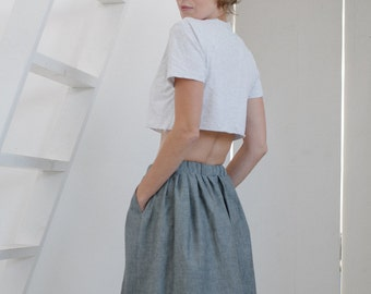 52657aa1a74c6 Women s skirt Midi Skirt Elastic waist Casual skirt Grey skirt Pull on skirt  Office skirt Skirt with pockets Women s midi skirt Cotton skirt