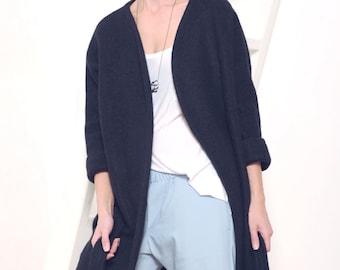 Women's coat Wool coat Oversized coat Navy blue coat Mohair coat Winter coat Women's blue coat Wool blue jacket Women's jacket Midi coat