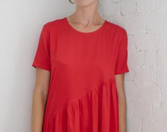 Red dress Women's red dress Asymmetric dress Summer dress Scarlet red dress Short sleeve dress Midi dress Light dress Women's tunic