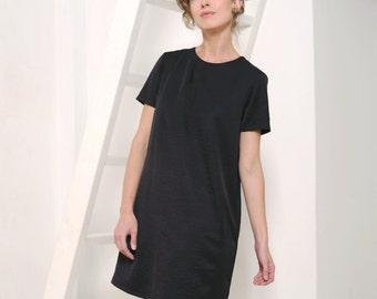 Black dress Little black dress LBD A-line dress Mini dress Women's dress Woman dress Short sleeves Office dress Loose dress A line dress
